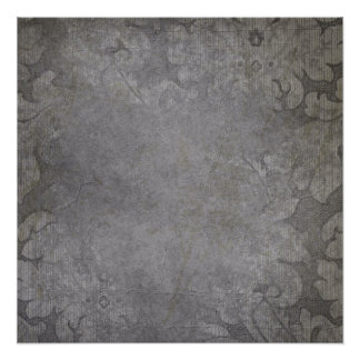 Gray Damasks grungy Poster