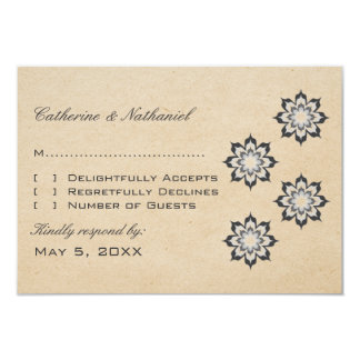 Gray Daring Floral Blooms Response Card