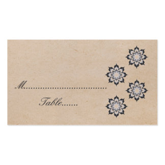 Gray Daring Floral Blooms Wedding Place Card Business Card