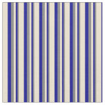 [ Thumbnail: Gray, Dark Blue & Beige Pattern of Stripes Fabric ]