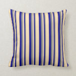 [ Thumbnail: Gray, Dark Blue & Beige Pattern of Stripes Pillow ]