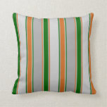 [ Thumbnail: Gray, Dark Green, Light Gray, Chocolate Lines Throw Pillow ]