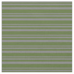 [ Thumbnail: Gray & Dark Olive Green Colored Lines Fabric ]