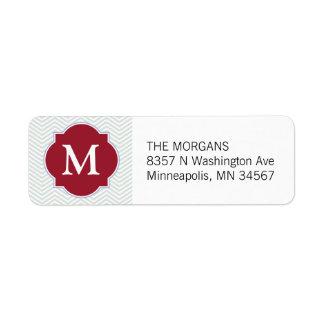 Gray Dark Red Modern Chevron Custom Monogram Return Address Labels