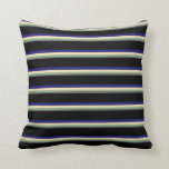 [ Thumbnail: Gray, Dark Sea Green, Beige, Midnight Blue & Black Throw Pillow ]