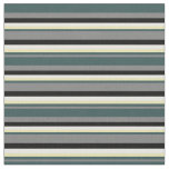 [ Thumbnail: Gray, Dark Slate Gray, Tan, White & Black Lines Fabric ]