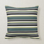 [ Thumbnail: Gray, Dark Slate Gray, Tan, White & Black Lines Throw Pillow ]