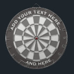 "Gray Dartboard with custom text<br><div class=""desc"">Gray dartboard and two custom text areas.</div>"