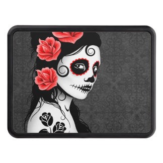 Gray Day of the Dead Sugar Skull Girl Hitch Cover