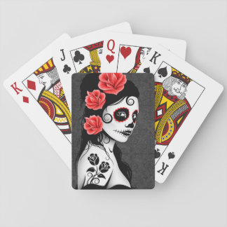 Gray Day of the Dead Sugar Skull Girl Card Deck