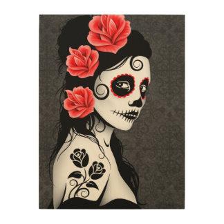 Gray Day of the Dead Sugar Skull Girl Wood Wall Art