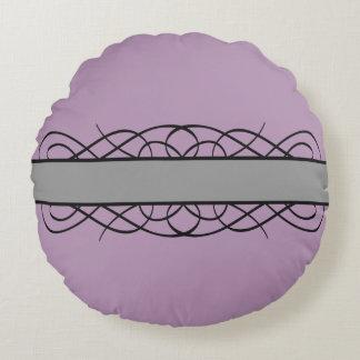 Gray Deco Flourish Round Pillow