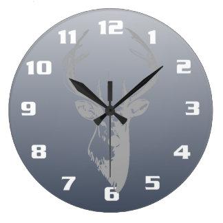 Gray Deer Head On Smoky Blue Large Clock