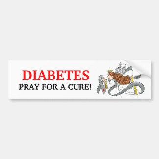 """Gray Diabetes Ribbon"" Awareness Angel Bumper Sticker"