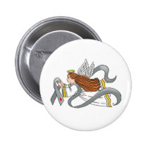 """Gray Diabetes Ribbon"" Awareness Angel Button"