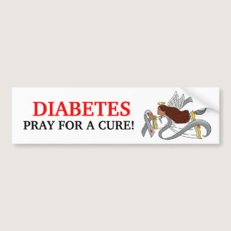 """Gray Diabetes Ribbon"" Ethnic Awarenesss Angel Bumper Sticker"