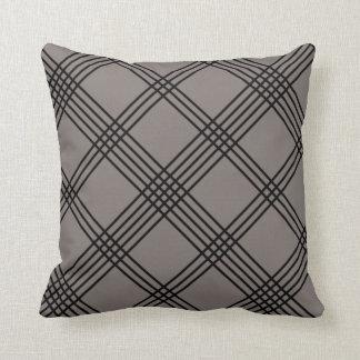 Gray Diagonal Plaid American MoJo Pillo Throw Pillow