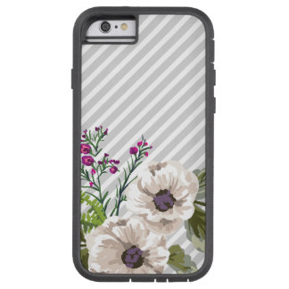 Gray Diagonal Stripes With Purple Flowers Tough Xtreme iPhone 6 Case