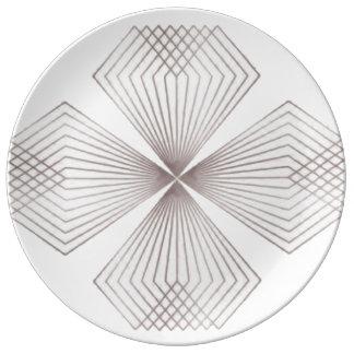 Gray Diamond Flower Dinnerplate Plate