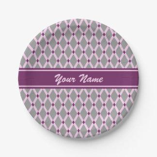 Gray Diamonds-Pink Frames Paper Plate