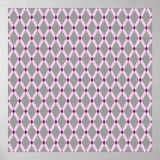 Gray Diamonds-Pink Frames Poster