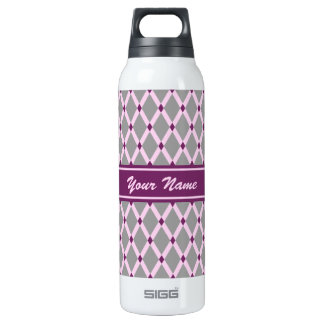 Gray Diamonds-Pink Frames Thermo Bottle