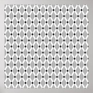 Gray Diamonds-White Frames Poster