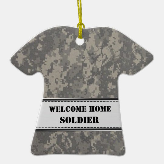 Gray Digital Camouflage - Welcome Home! Ceramic Ornament