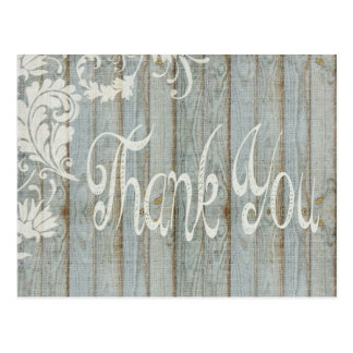 Gray Distressed Wood Rustic Thank You Post Card