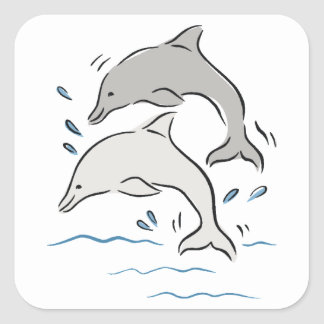 Gray dolphins jumping out of water. Cartoon image Square Sticker