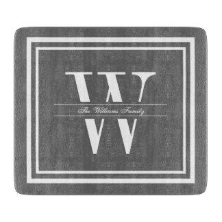 Gray Double Border Monogram Cutting Board