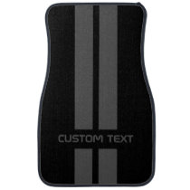 Gray Double Stripe Car Mats - with custom text
