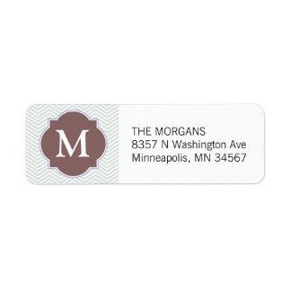 Gray & Dusty Rose Modern Chevron Custom Monogram Custom Return Address Labels