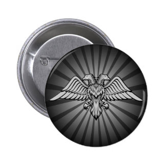Gray eagle with two heads button