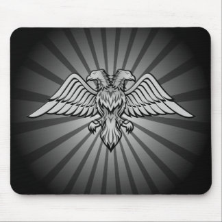 Gray eagle with two heads mouse pad