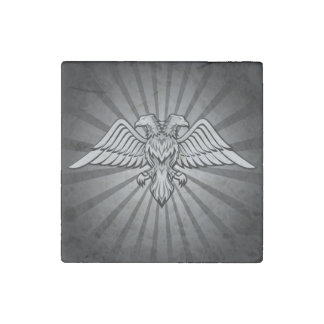 Gray eagle with two heads stone magnet