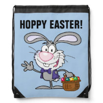 Gray Easter Bunny with Basket of Eggs Drawstring Bag