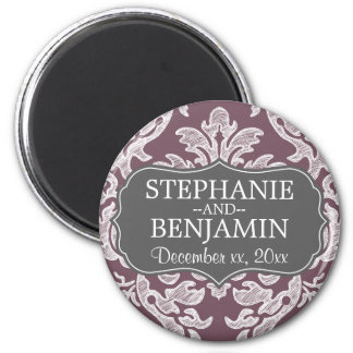 Gray & Eggplant Damask Pattern Wedding Favor Magnet