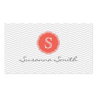 Gray elegant card of monograma choral and chevrón business card template