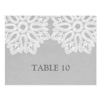 Gray Elegant Lace Table Number Postcard