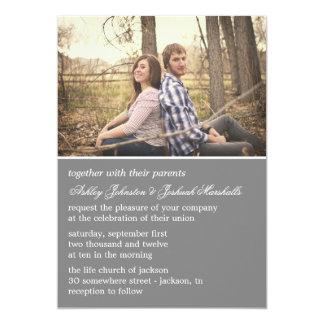 "Gray Elegant Photo Wedding Invitations 5"" X 7"" Invitation Card"
