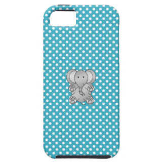 Gray elephant blue and white polka dots iPhone SE/5/5s case