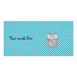 Gray elephant blue polka dots photo card