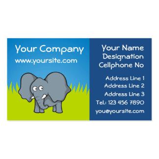 Gray elephant cartoon business card