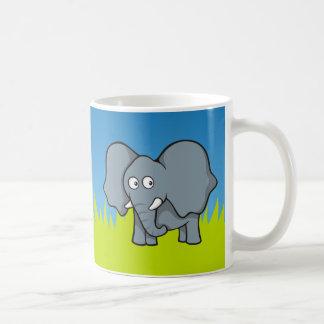 Gray elephant cartoon coffee mug
