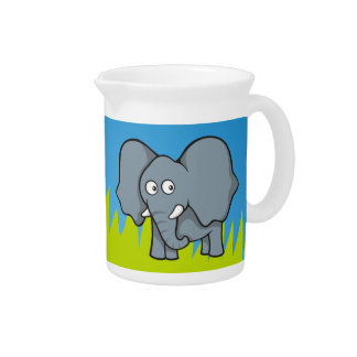 Gray elephant cartoon drink pitcher