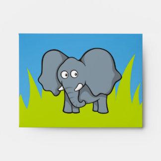 Gray elephant cartoon envelope