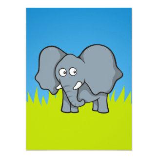 Gray elephant cartoon 6.5x8.75 paper invitation card