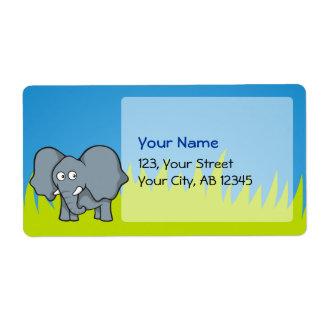 Gray elephant cartoon label