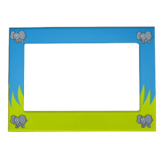 Gray elephant cartoon magnetic picture frame